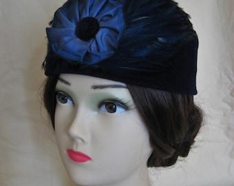 Civil War/Victorian Hat/Toque. 1860's Dickens. Navy Velvet and Straw.