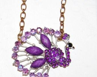 Beautiful Purple Rhinestone Peacock Necklace Vintage Sparkly Peacocks Chains
