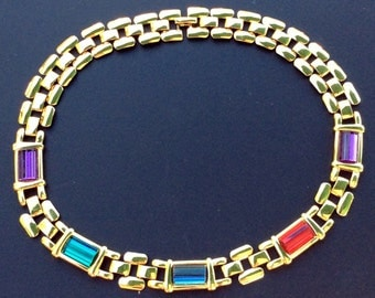 Napier Collar Necklace with Multicolored Glass Crystals