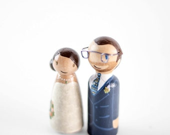 Funny Cake Topper - personalized cake toppers - nerd cake topper - wood peg bride and groom - wooden peg people, wedding gift, wedding decor