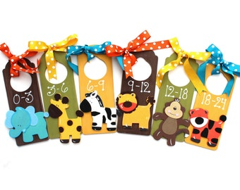 Baby Closet Dividers Set, Zoo Animals, Nursery Closet Dividers, Closet Organizer, Wooden Divider, Painted Wood Dividers, Nursery Hangers