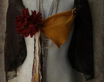 Vintage lace rustic boho cape shawl shrug. Woodland Mori girl.Forest Pixie. Gypsy tribal capelet shawl. handmade. upcycled fashion art.