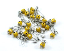 Evil eye beads, 20 pcs, tiny evil eye safety pins, turkish evil eye, evil eye baby gift, unique evil eye wedding favor, baby shower favor