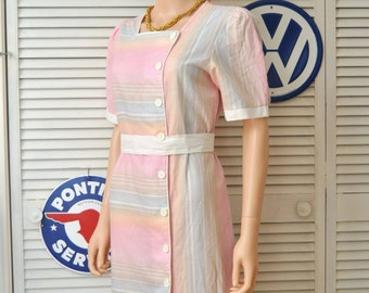 Vintage 70s 80s Womens Rainbow Pastel Dress/Pale Pink Blue Yellow/Slubbed Linen Cotton/Jerri Gee NY/Secretary Theatre