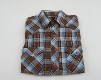 Vintage 70's Wrangler Pearl Snap Western Shirt - Medium