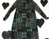 60's green plaid patchwork print cotton dress 1960's fall babydoll dolly mod Twiggy / Rosemary's Baby / prairie dress / long sleeve / XS S
