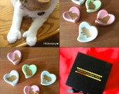 One of a kind - Gift for Cat Lover-Lovely Cat Chopstick Rest Set for Cat Owner, Ceramic Heart Spoon Rest, Cutlery Rests Set of 5