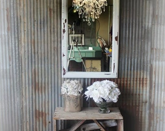 C H I P P Y, Leaner White Painted Mirror Dressing Mirror Worn Patina