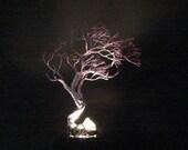 "Wire metal Tree Of Life lamp, Dream Wishing Tree sculpture, blue Aquamarine, Quartz Crystal, handmade unique art gift, windswept tree, 12"""