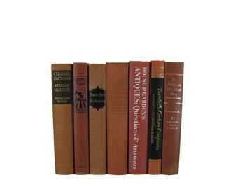 Old Books, Orange Brick Decorative Books, Book Set, Photo Props, Wedding Book Decor, Gift for Book Lover,  Vintage Home decor,  Used Books