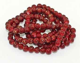 50 Mottled Glass Beads 6mm Cranberry Red with Gold Highlights BD150 -