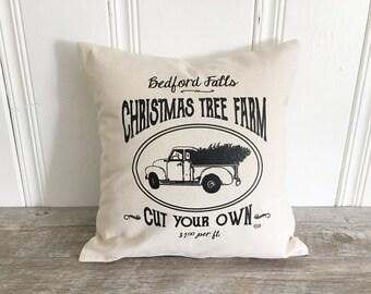 Christmas Tree Farm Pillow Cover Christmas Pillow Case Holiday Pillow Bedford Falls Pillow Rustic Farmhouse Decor Christmas Throw Pillow