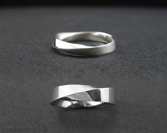 Mobius wedding band set, His And Hers Wedding rings set, bridal wedding set, mobius strip ring, gold infinity ring, gold wedding bands