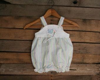 SUPER SALE - Vintage Little Girls Striped Pastel Romper with Bird Size 18 Months