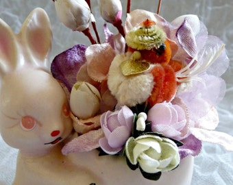 Small Easter Floral Arrangement Vintage Bunny Chenille Chick Pink Lavender Millinery Flowers Shabby Decor