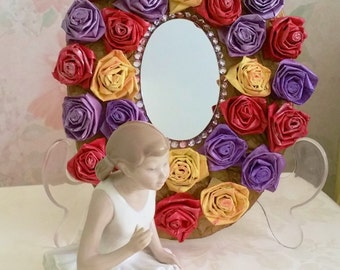 Decorative Floral Mirror, Gold Oval Framed Mirror with Painted Paper Roses, Home Decor Mirror, Girls Room Decor