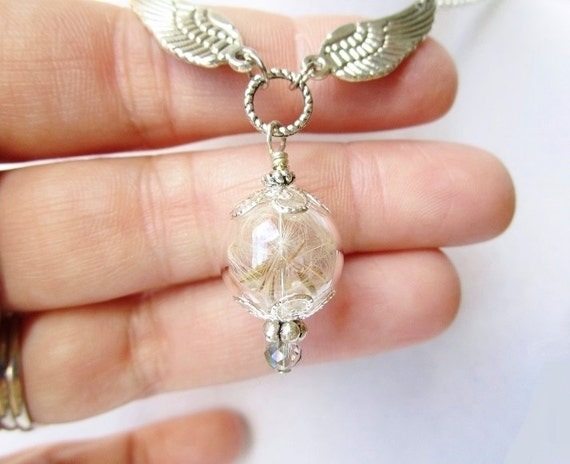 Dandelion Seed Wishing Orb & Silver Wing Necklace, Fairy Jewelry, Bridesmaids Gifts