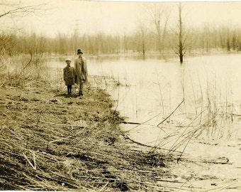 "Vintage Photo ""Swamp Walkers"" Creepy Snapshot Photo Old Antique Photo Black & White Photograph Found Photo Paper Ephemera Vernacular - 146"