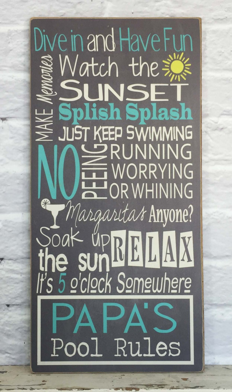 Swimming pool rules custom pool sign by madikaydesigns on etsy for Pool design rules