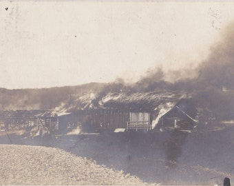 Barn Fire- 1900s Antique Photograph- Burning Building- Natural Disaster- Smoke and Flames-  Real Photo Postcard- RPPC- Paper Ephemera