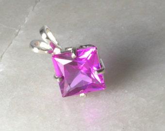 Impressive Pink Sapphire Silver Pendant .