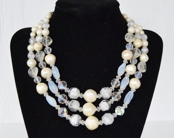 Vintage Triple-Stranded Necklace with Clear Glass Beads and Cream Beads by Laguna