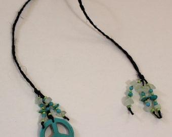 Braided Hemp Bookmark - Turquoise Peace 2
