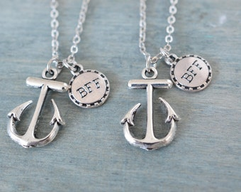 bridesmaid gift, anchor necklace, bff friendship necklace, best friend necklace set, beach jewelry, nautical jewelry, silver anchor necklace