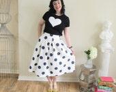 Navy and White Polka Dot Skirt Pleated and Full Midi Skirt Length