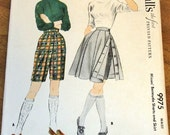 McCall's 9975 Gored Kilt Skirt, Layer over Bermuda Shorts, Women's Misses Vintage 1950s Sewing Pattern Waist 28 Hip 37 Partly Cut Complete