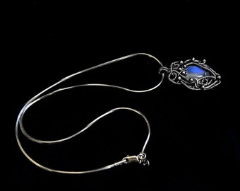 Sterling Silver Pendant With Blue Labradorite - Wire Wrapped Fantasy Pendant -  Gothic Jewelry - Victorian Collection