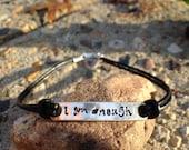 I Am Enough Bracelet -Inspirational Bracelet-Sterling Silver & Black Leather Bracelet -Hand Stamped Motivational Bracelet - Pick Your Word