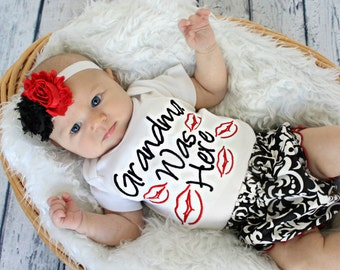 Valentines Day Baby Girl Outfit baby cloths Grandma Was Here Newborn Girl Take Home Outfit Bodysuit options for complete outfit Baby Gift