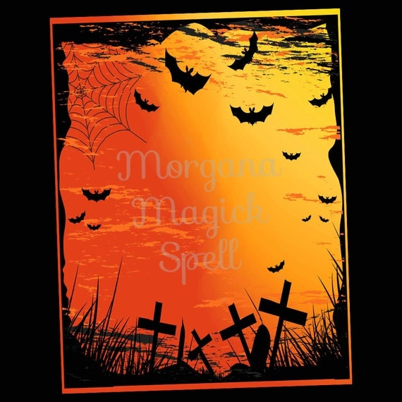 GRAVEYARD & BATS HALLOWEEN Blank Book of Shadows  Page
