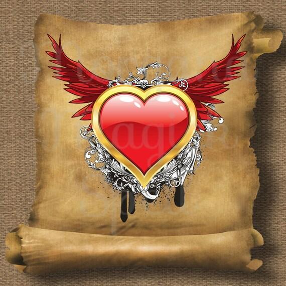 Heart & Wings Royalty Free Clip Art