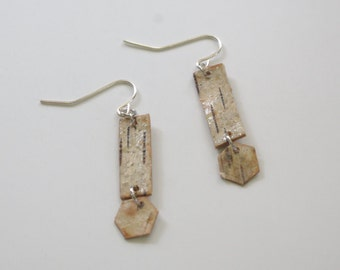 Exclamation Point! Birch Bark Earrings