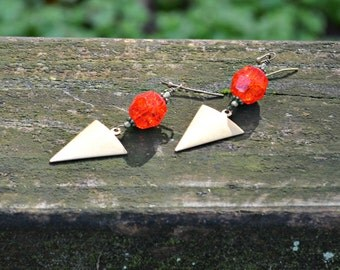 Brass Triangle Earrings with Bright Red Vintage German Crackle Glass Beads geometric jewelry gift for women