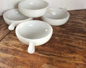 Vintage Milk Glass Ramekins/ Glasbake Individual Casserole Dishes / White Glass Chili Soup Bowls with Handles