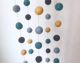Felt Ball Nursery Mobile - Gold Navy Blue Teal Aqua Playroom PomPom Nursery Decor