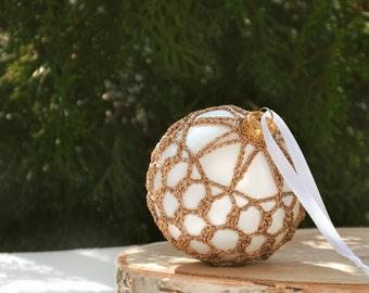 Gold Lace Ornament - Christmas Ornament - White Lace Ornament - Crochet Christmas Ornament - Christmas in July - Gold Crochet Ornament