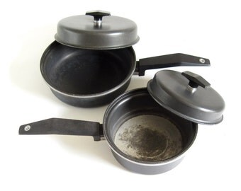 "Miracle Maid Cookware 1 Quart Saucepan, 8"" Small Skillet, Anodized Aluminum"