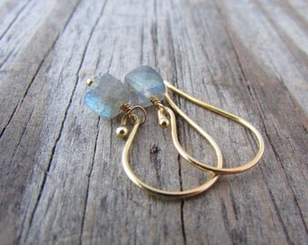 Labradorite Earrings, labradorite faceted 3D cubes, gold dangle earrings