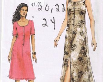 Vogue V7872 - Misses / Misses Petite Dress - Easy - Sizes 20, 22, 24 - UNCUT Factory Folded