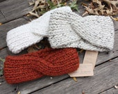 Knit Twist Headband in Autumn Colors - Chunky Wool Top Knot- Thermal Ear Warmer - Crisscross Winter Headband - 12 Colors Available