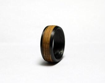 Whisky Barrel Oak and Carbon Fiber Ring