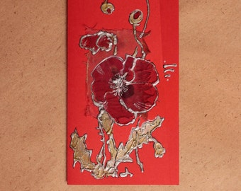 Red poppy on bright red background - Blank art Handmade greeting card - silver, black, floral, light green - original painting - OOAK