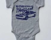 "Baby Onesie-""My Other Stroller is a Hellcat""-Muscle Car Baby Boy Onesie-Grey onesie-Baby gift"