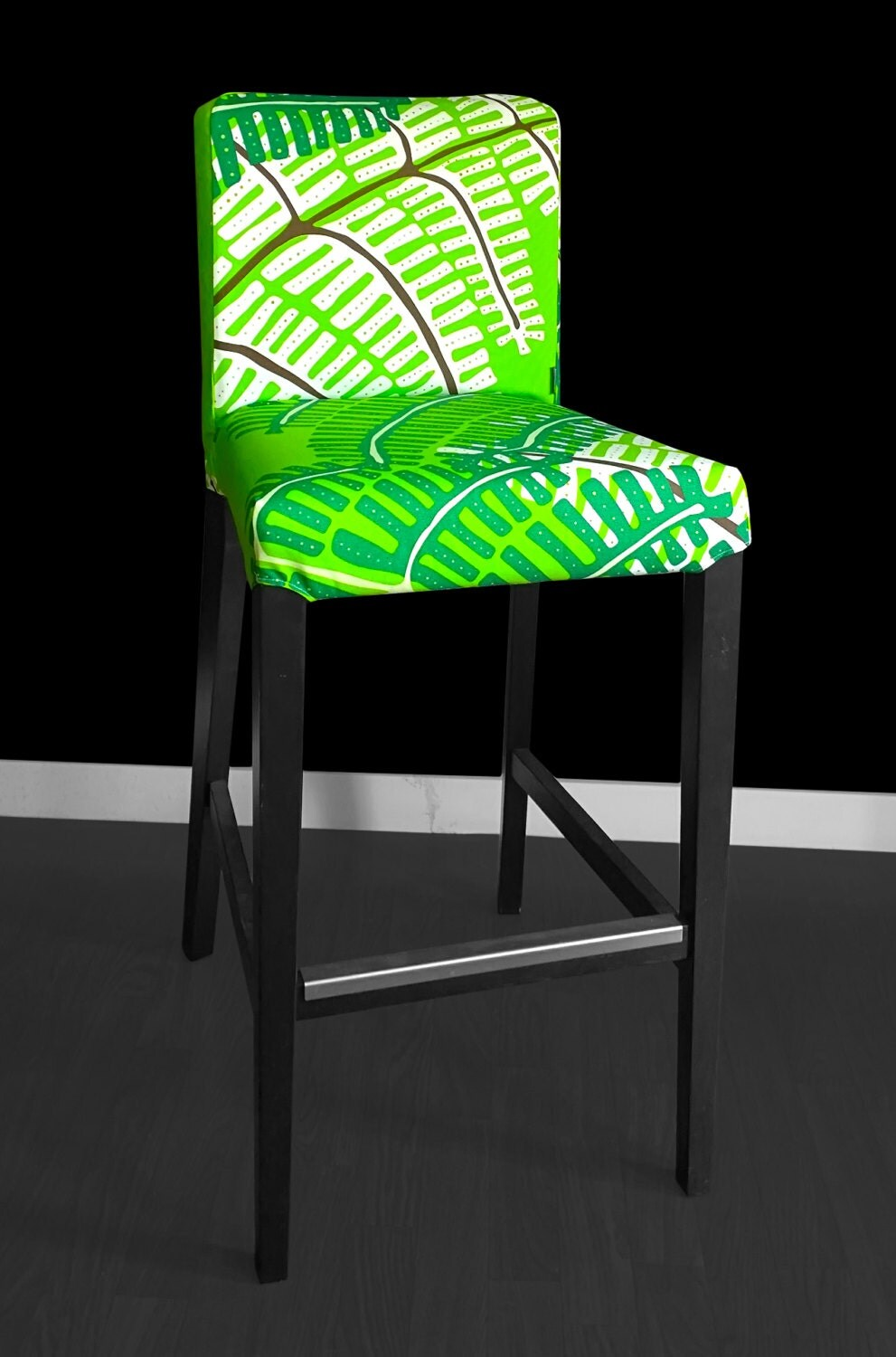 Sale Pair Of Henriksdal Bar Stool Chair Covers Green Fern