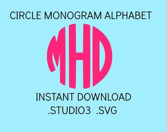Circle Monogram Svg, Monogram Letters, Circle Monogram Font, Cut Files For Cricut, Cut Files For ...