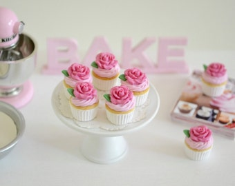 Sweet Petite Play Scale Rosewater Vanilla Cupcakes with Pink Butter Icing